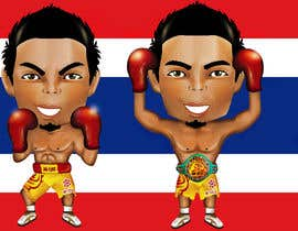 "#50 for Design an Asian Boxer Cartoon Character with 4 different punching actions/posts all in full body. (*Suggest to best use ""Srisaket Sor Rungvisai"" as the referral for the character) by EVINR"