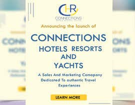 "Nro 4 kilpailuun Header - ""Announcing the launch of Connections Hotels Resorts and Yachts"" . One evocative image (I welcome suggestions or I will provide) and copy with contact details for click through (again, welcome suggestions or I can provide) www.connectionshry.com käyttäjältä nipapanday"