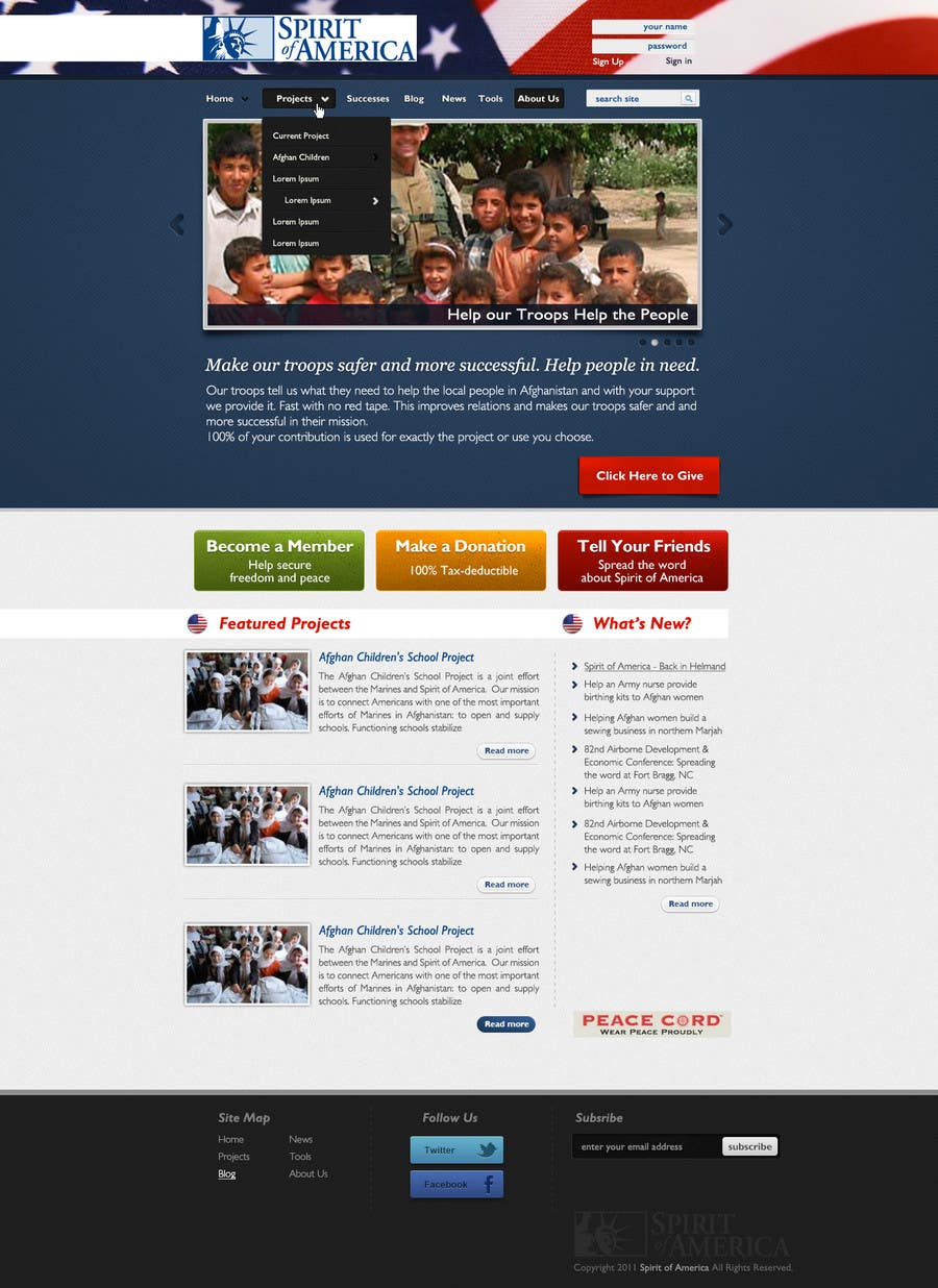 Конкурсная заявка №69 для Website Design for Spirit of America