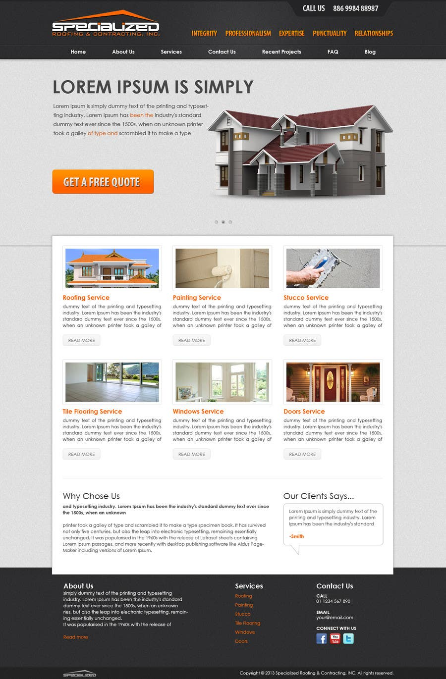 Bài tham dự cuộc thi #                                        12                                      cho                                         Wordpress Theme Design for Specialized Roofing & Contracting Inc.