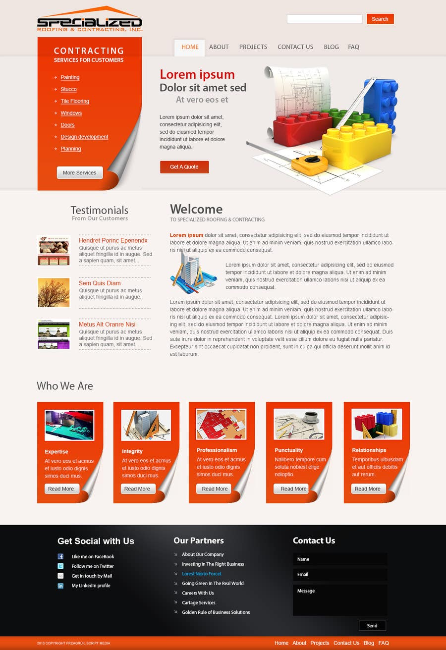 Bài tham dự cuộc thi #                                        20                                      cho                                         Wordpress Theme Design for Specialized Roofing & Contracting Inc.