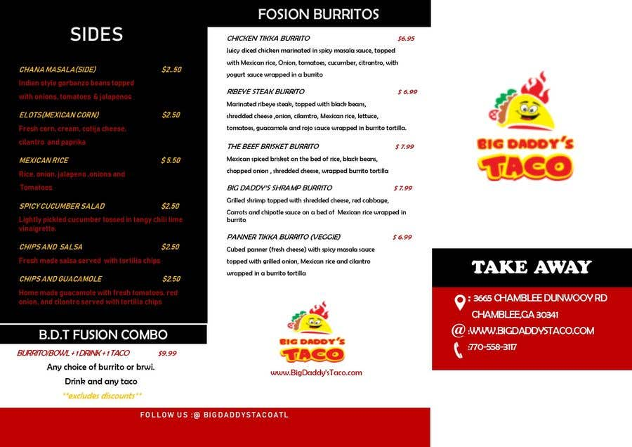 entry 8 by mustjabf for need a takeout menu design for restaurant