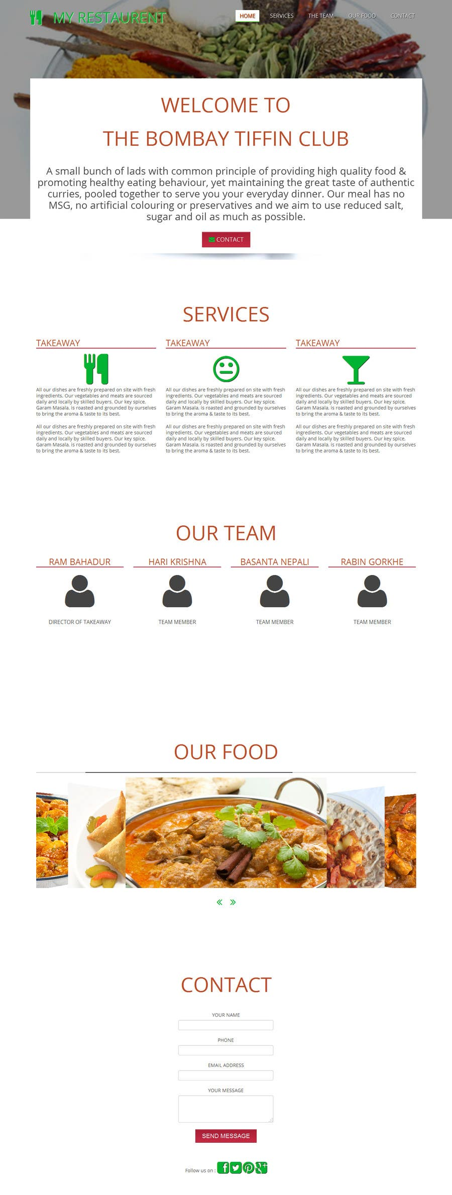 Penyertaan Peraduan #                                        6                                      untuk                                         Build a Website for a restaurant and a one page website for a small community