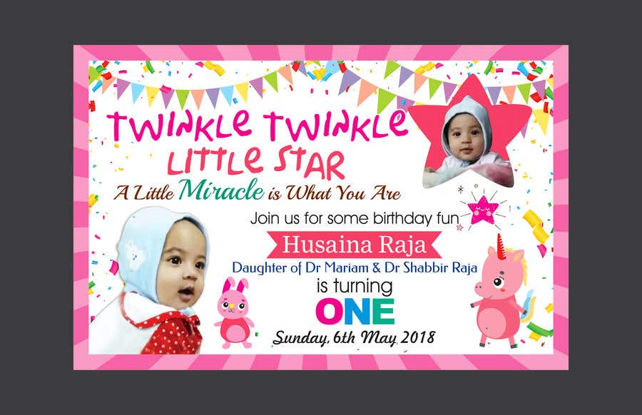 Entry #41 by mediart09 for Design a birthday Invite for baby girl\'s ...