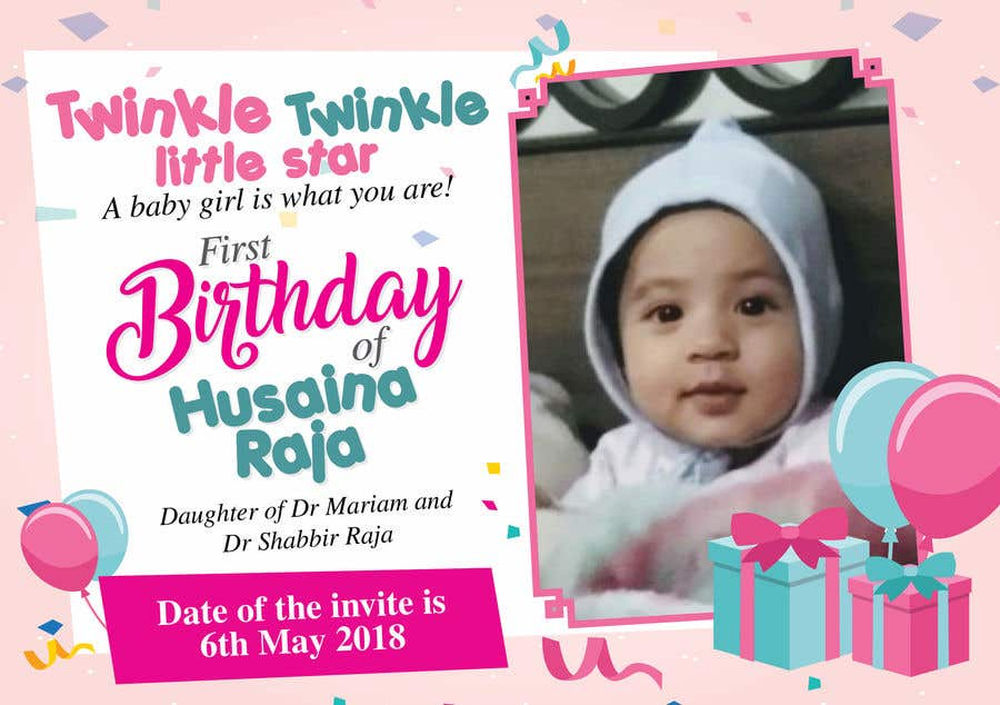 Entry #30 by ndevadworks for Design a birthday Invite for baby ...