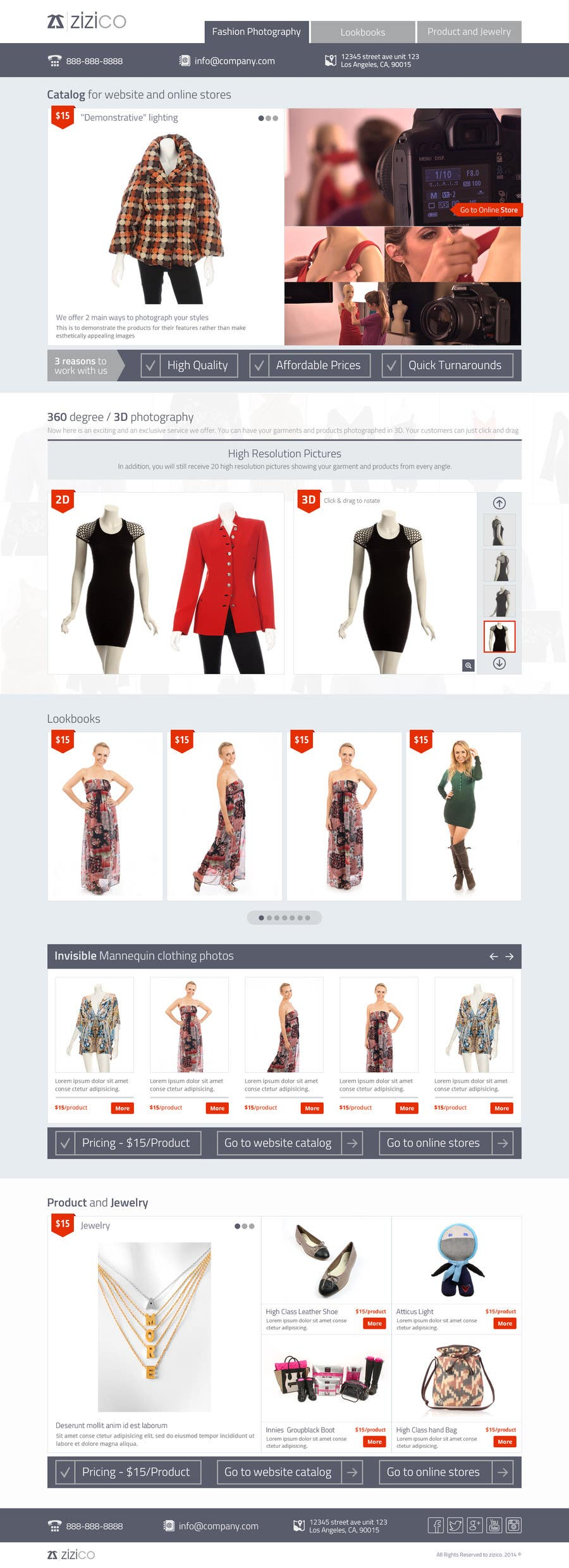 a great design for Fashion and Product photography landing