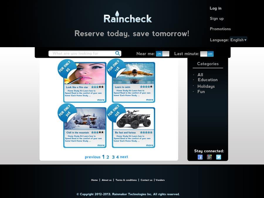 Konkurrenceindlæg #6 for Website Design for Raincheck