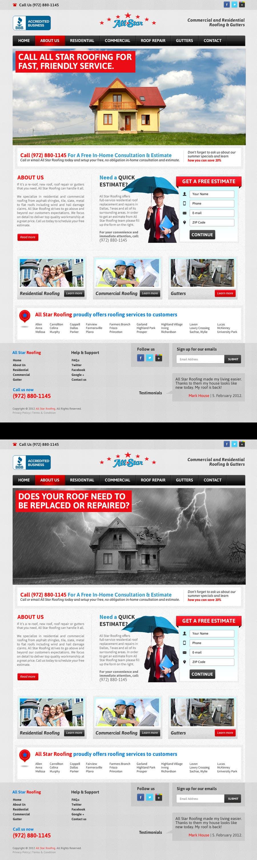 Inscrição nº 30 do Concurso para Website Design for All Star Roofing