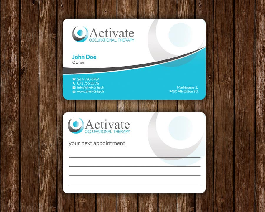 Penyertaan Peraduan #                                        37                                      untuk                                         Design some Business Cards for Activate Occupational Therapy