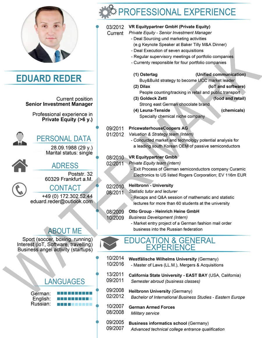 contest entry 3 for design update of curriculum vitae professionalize design