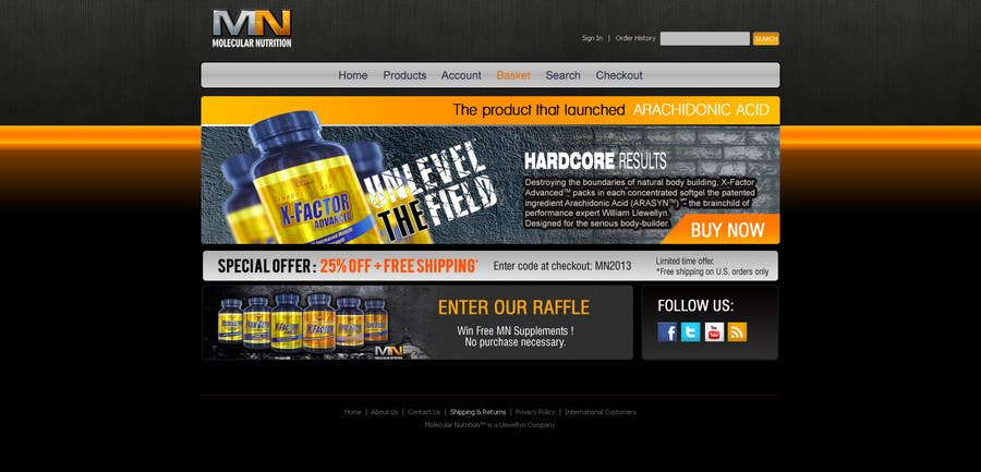 Penyertaan Peraduan #                                        57                                      untuk                                         Website for Sports Nutrition Co. NO CODING / GFX ONLY