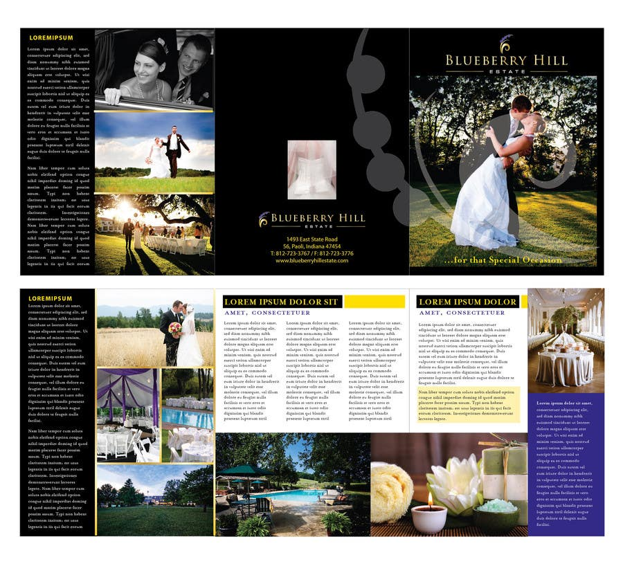 Konkurrenceindlæg #                                        33                                      for                                         Graphic Design for MARKETING BROCHURE -Blueberry Hill Estate- Wedding Specific -Media Kit for print