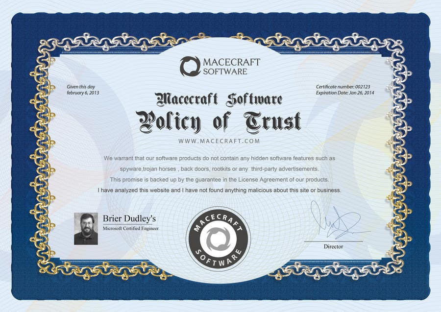 Contest Entry #16 for Website Certificate Design for Macecraft Software