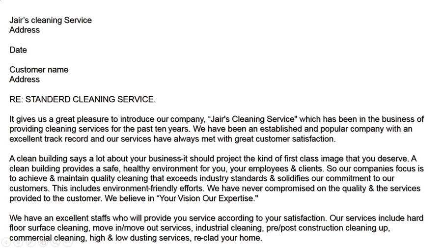 Contest Entry #6 for Commercial Cleaning Introduction Letter