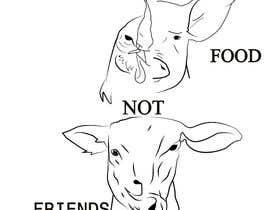 """Nro 9 kilpailuun Vegan tattoo - """"Friends Not Food"""" käyttäjältä Pandred"""