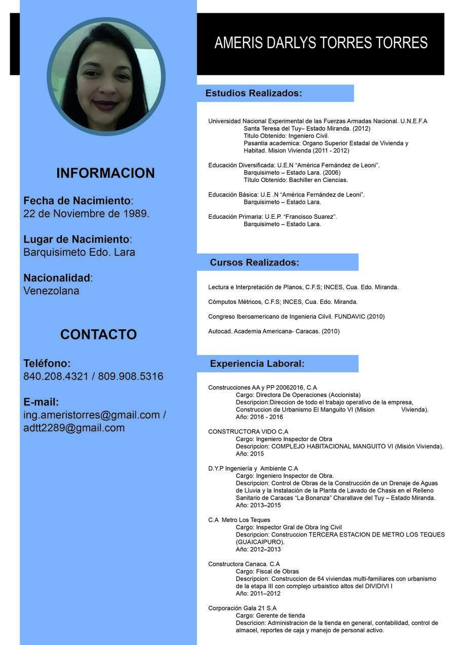 Entry 5 By Gustavocorey980 For Diseno De Curriculum Vitae Freelancer