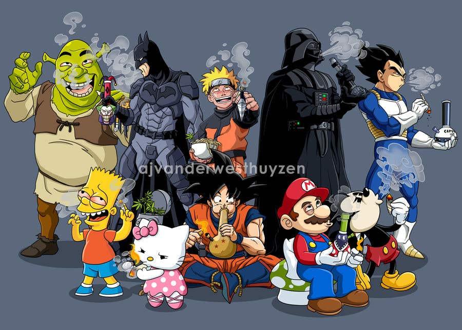 Cartoon characters smoking weed think
