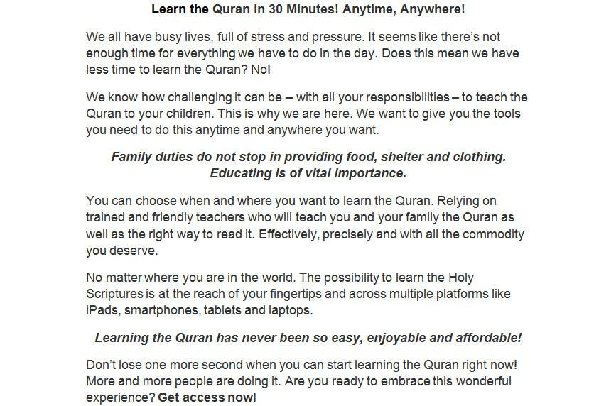 Top Entries - Content Writing for promotion of Online Quran