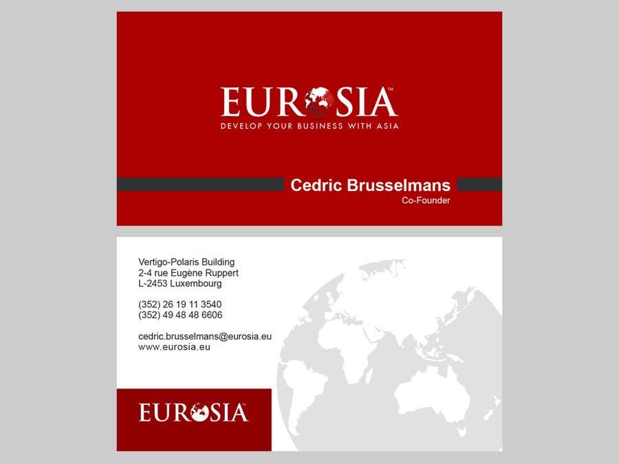Kilpailutyö #86 kilpailussa Business Card Design for www.eurosia.eu