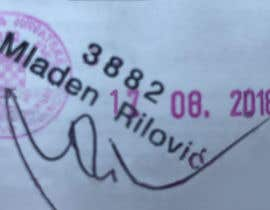 Nro 9 kilpailuun 1. Remove all text and lines except the pink stamp, 3882, Mladen Rilovic and signature.  2. Change the stamp date to say 17.08.2018. käyttäjältä asrafnaim440
