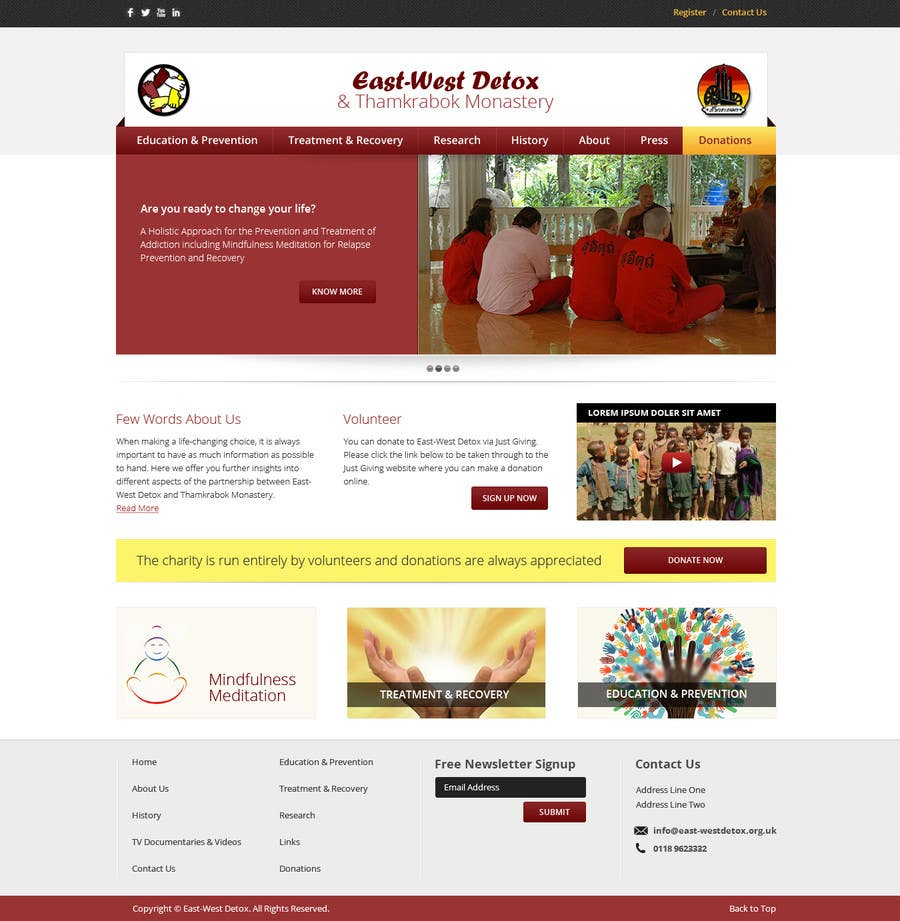 Proposition n°                                        2                                      du concours                                         Wordpress Theme Design for New website for East West Detox, Charity Website