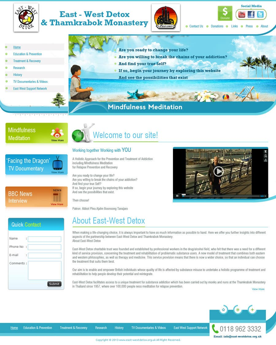 Proposition n°                                        7                                      du concours                                         Wordpress Theme Design for New website for East West Detox, Charity Website