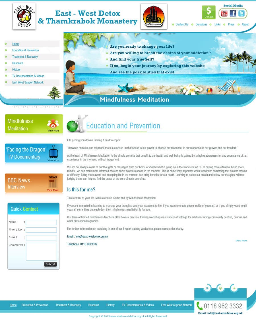Proposition n°                                        8                                      du concours                                         Wordpress Theme Design for New website for East West Detox, Charity Website