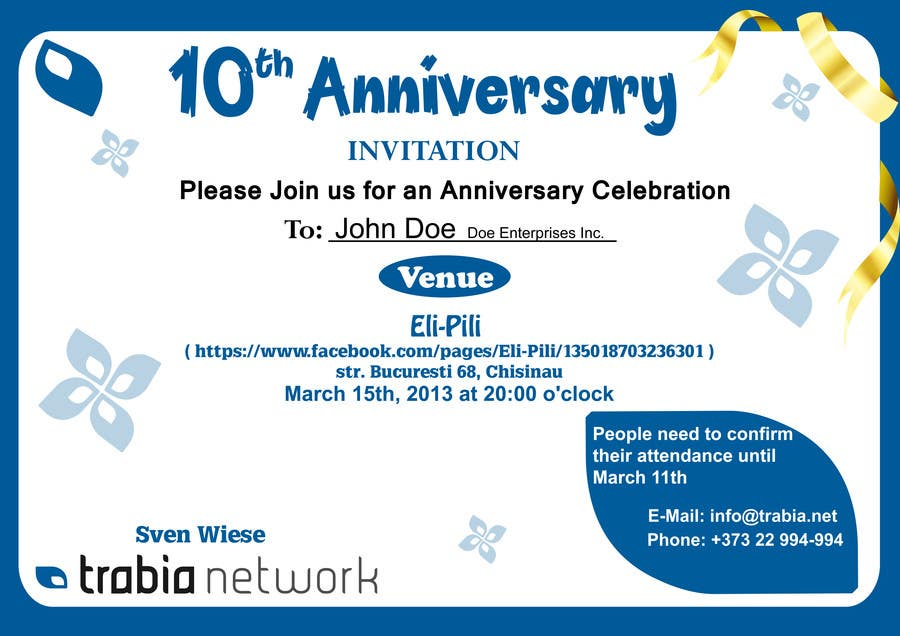 Entry 85 by venug381 for corporate party invitation design for 10th contest entry 85 for corporate party invitation design for 10th anniversary stopboris Gallery