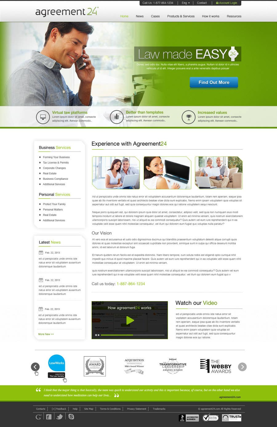 #10 for Graphic redesign - FRONT PAGE and sub template - agreement24.com website by herick05