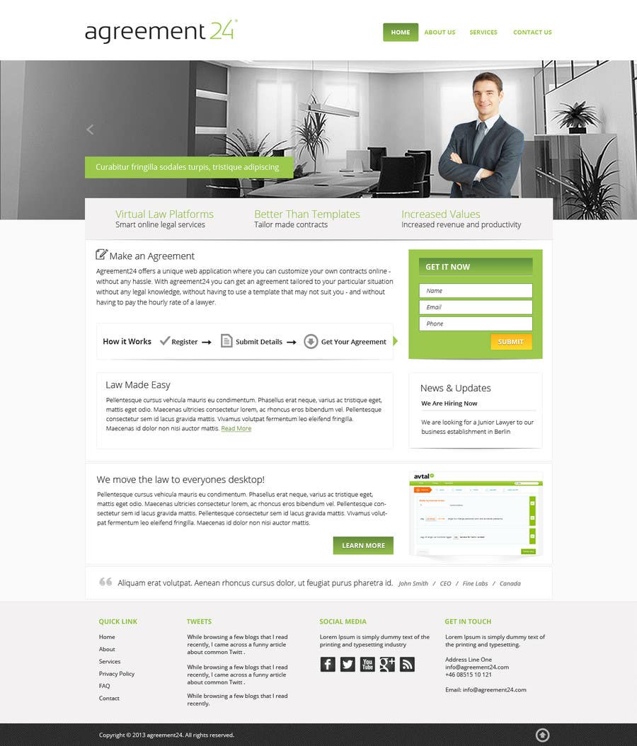 #7 for Graphic redesign - FRONT PAGE and sub template - agreement24.com website by Pavithranmm