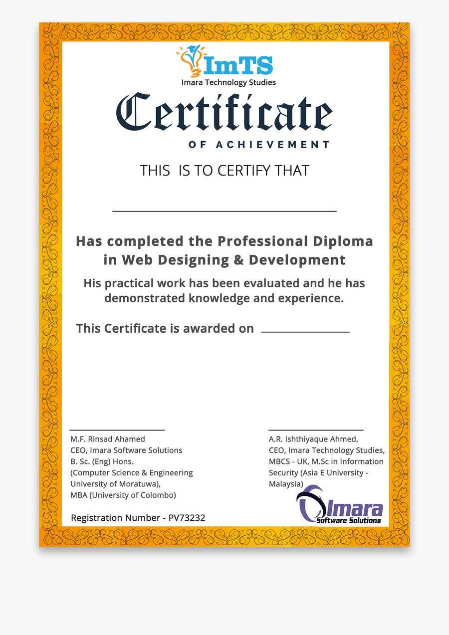 Proposition n°13 du concours Design a certificate for our Course