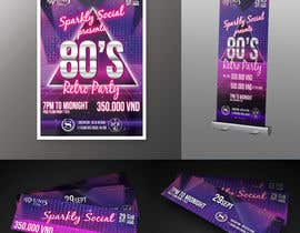 #17 untuk design ticket and roll up banner for an 80's themed party oleh filipzirbo