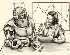 #27 para Draw a robot and a human in a business scene por thunderbirdart