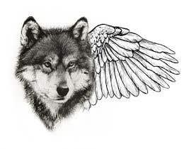 #29 for 1 Wolf & 1 wing Tattoo Design af hossaingpix