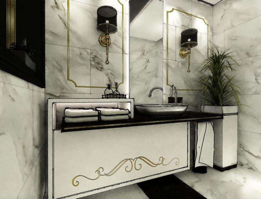 . Entry  13 by LaVirtuary for Powder room  small washroom interior