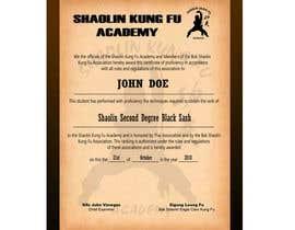 #17 untuk Shaolin Kung Fu Certificate oleh tamjo