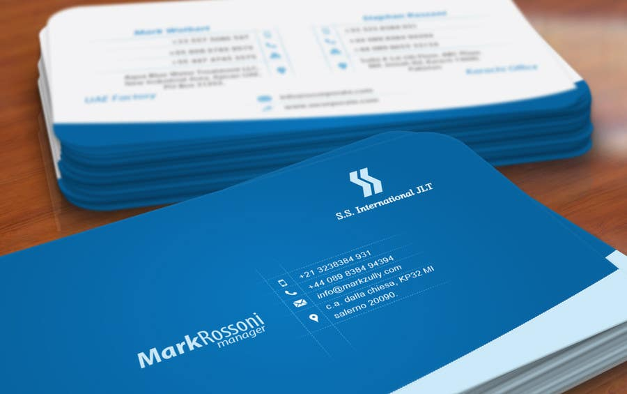 Business card design for ss international freelancer reheart Gallery