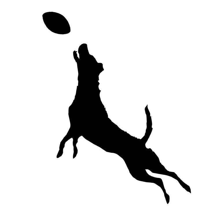 Dog Catching Frisbee Silhouette