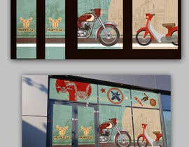 #42 untuk Moped.Ge Moped and Motorcycle shop front sticker design oleh ericzgalang