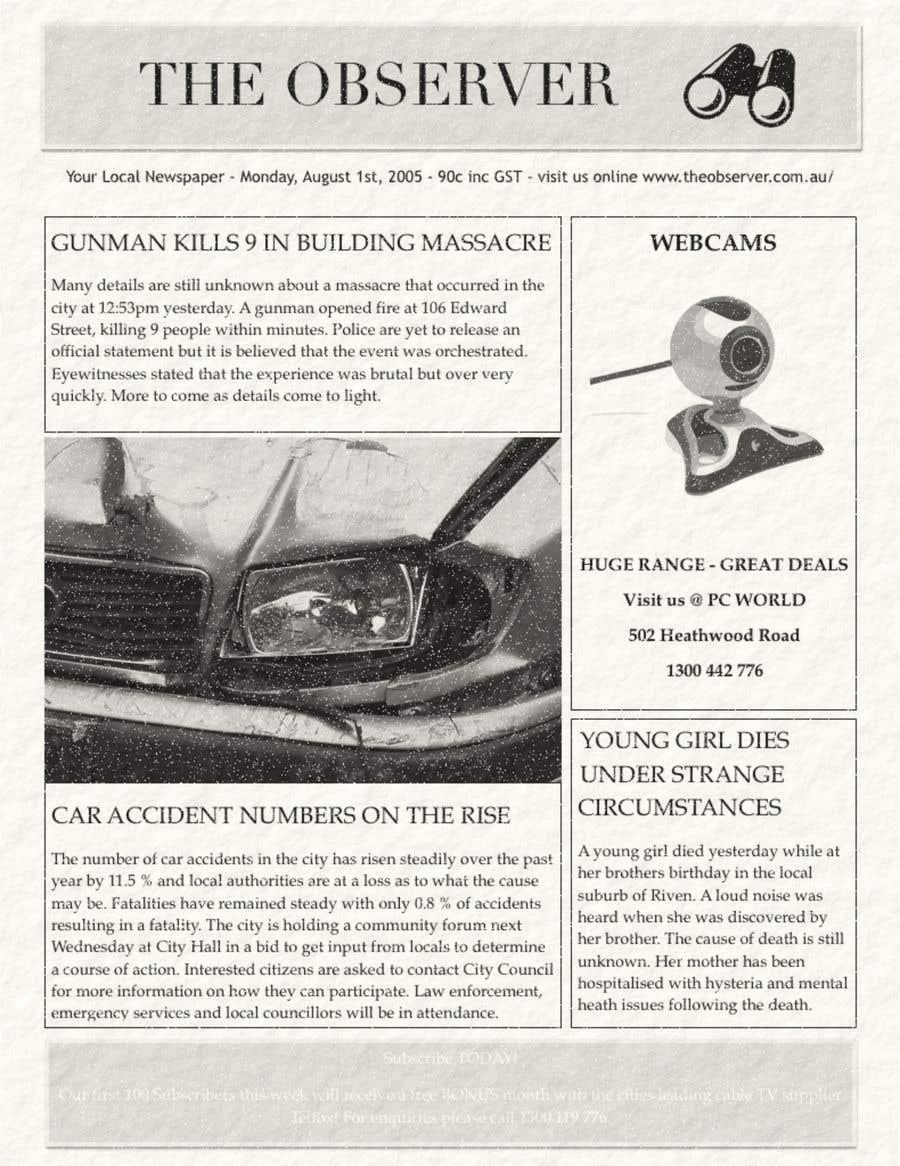 Penyertaan Peraduan #3 untuk Make my Newspaper (2 Pages) look AUTHENTIC!