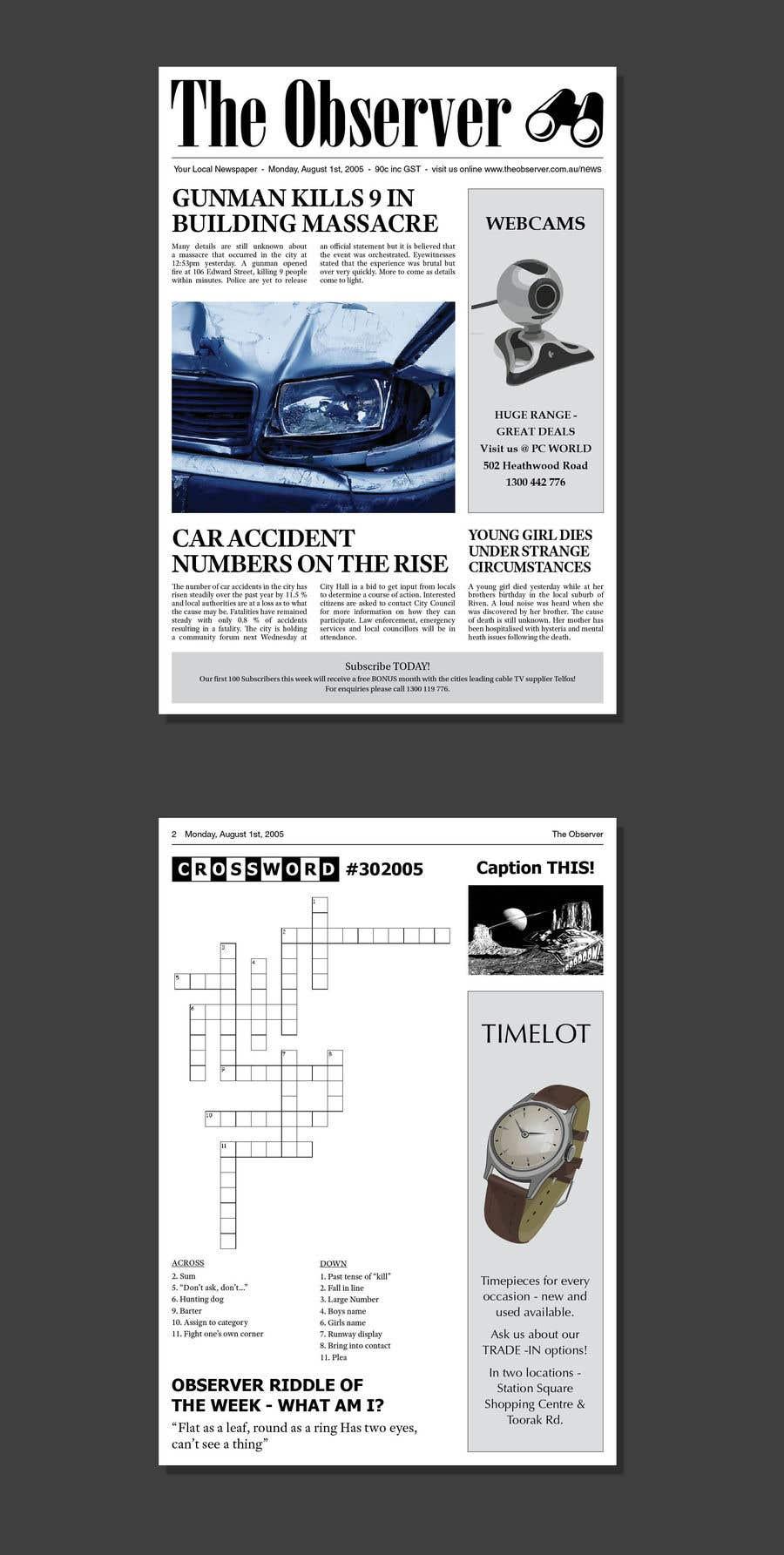 Penyertaan Peraduan #9 untuk Make my Newspaper (2 Pages) look AUTHENTIC!