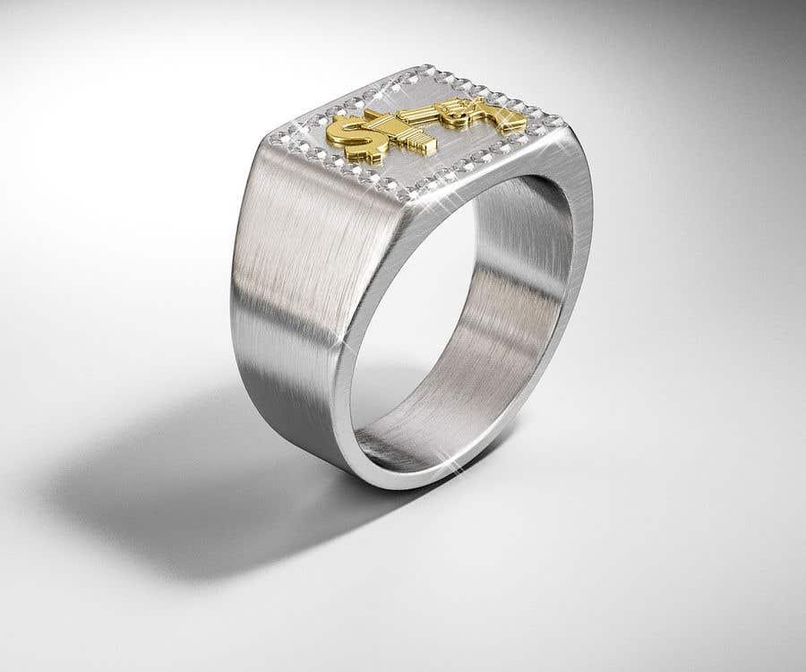 "Kilpailutyö #20 kilpailussa Design a mens ring with my logo ""MONEY, PLUG, GUN"""
