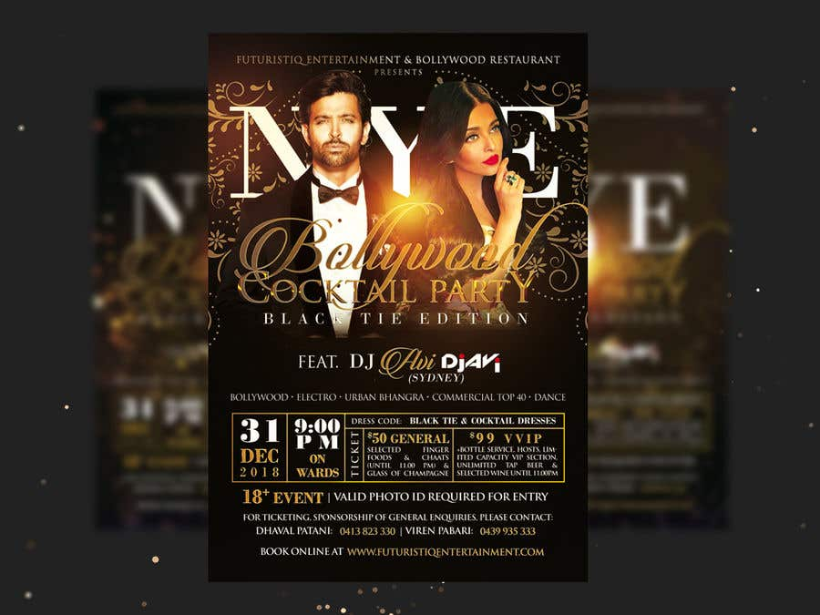 Kilpailutyö #20 kilpailussa NYE Bollywood Cocktail Party (Black Tie Edition)