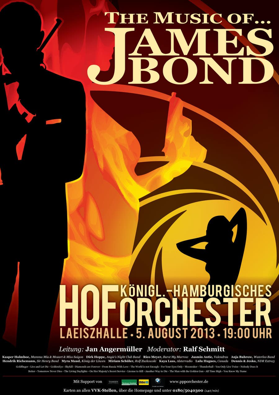 Konkurrenceindlæg #                                        110                                      for                                         James Bond Poster Design for Orchestra Concert