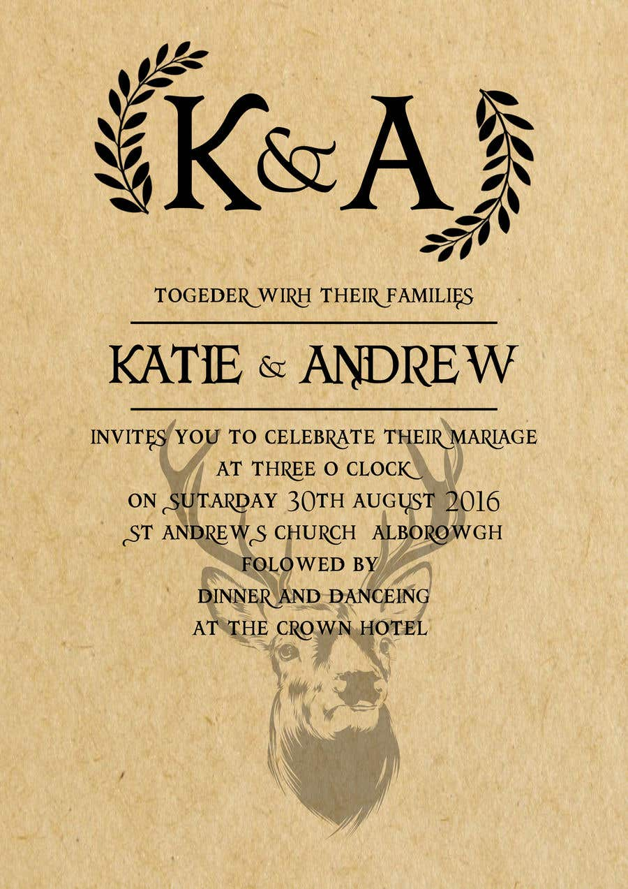Entry 31 By Capecape3 For Design A Rustic Wedding Invite Template Freelancer