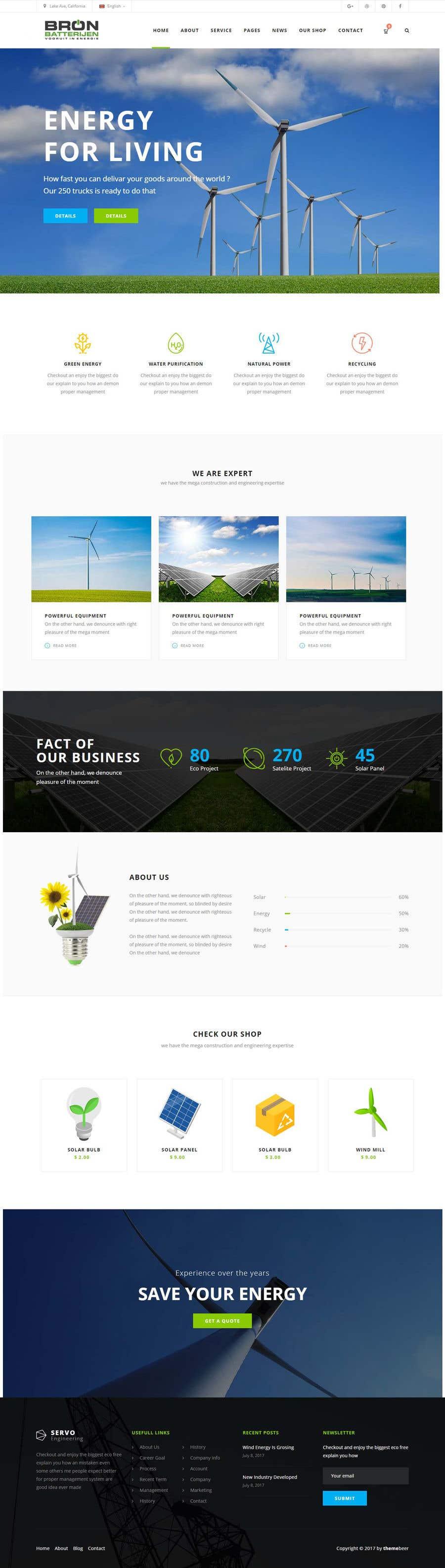 Penyertaan Peraduan #48 untuk wordpress theme design for battery and lighting subject