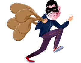 #15 для cartoon  image of thief wearing eyemask with many bags on his shoulder от SrDesign247