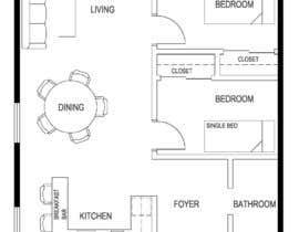 paulegan789님에 의한 Design a layout of a two bedroom flat, including furniture.을(를) 위한 #2