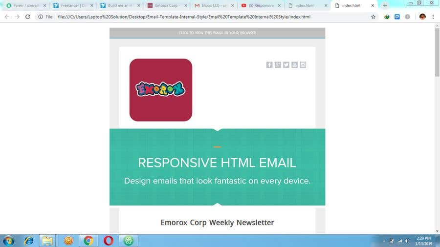 Entry #6 by drshahinur for Build me an HTML email template