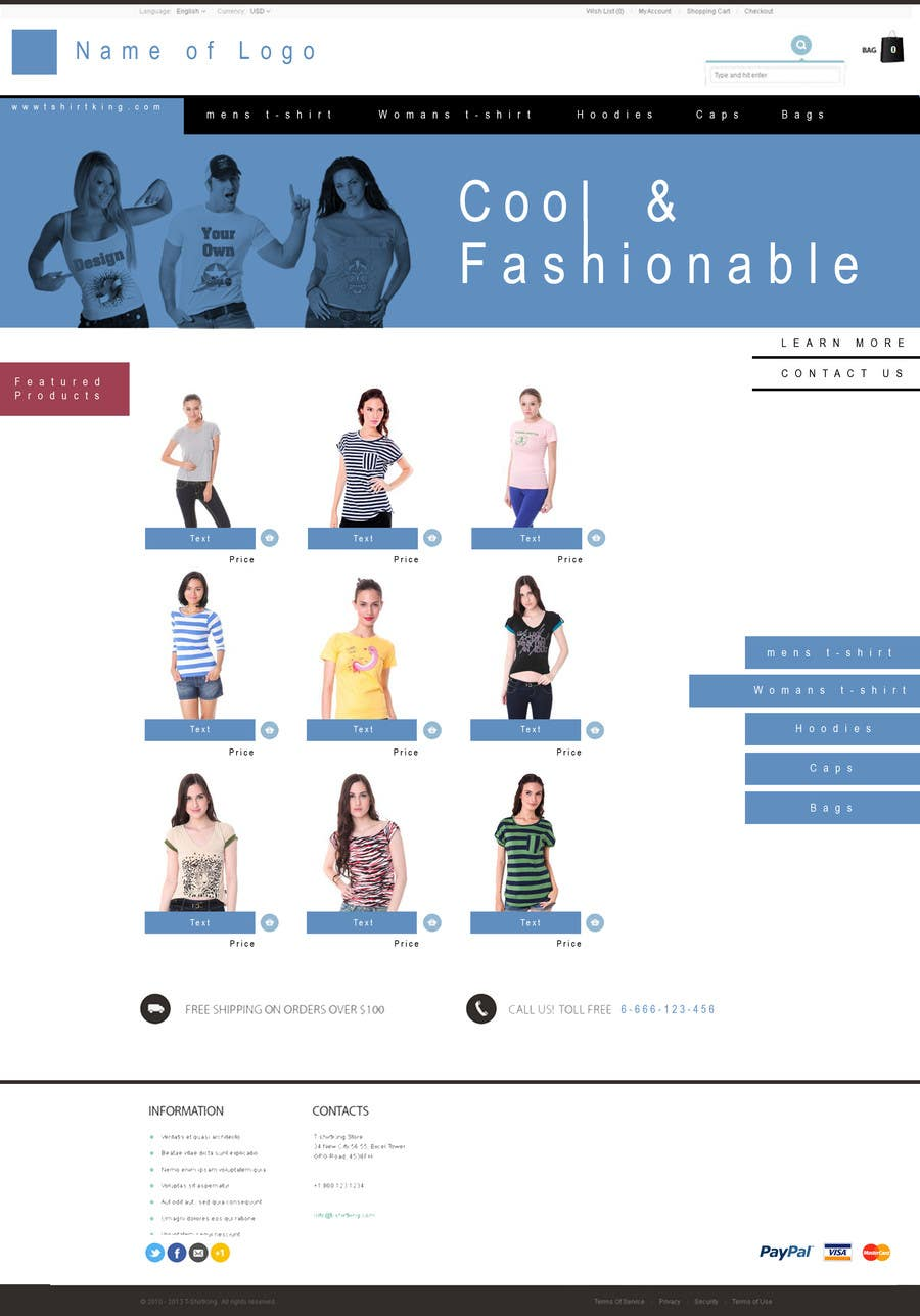 Bài tham dự cuộc thi #3 cho Website Design for T-shirt shop